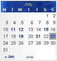Neuer Binary Blue Kalender mit unzureichendem Kontrast.