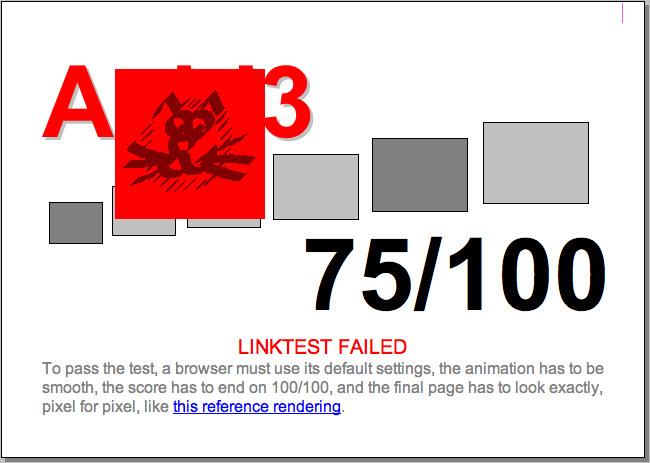 Beim Acid3 Test erreicht Apples Safari 3.2.1 75 von 100 Punkten.