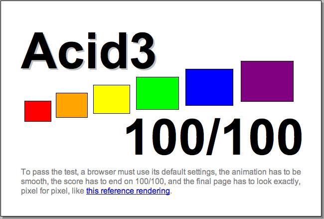 Beim Acid3 Test erreicht WebKit NightlyBuild 100 von 100 möglichen Punkten.