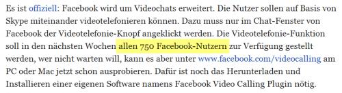 Textabschnitt mit der markierten Stelle 'allen 750 Facebook-Nutzern'