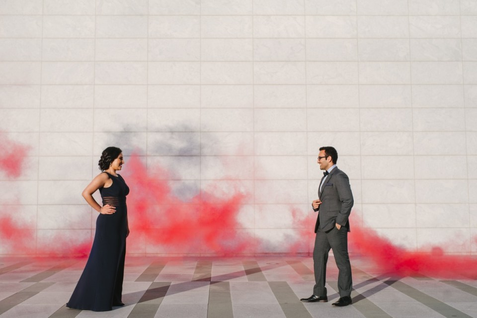 aga khan museum engagement session photos smoke bombs