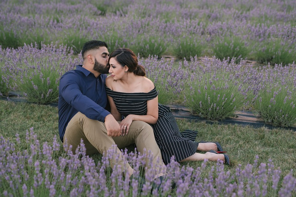 lavender field engagement photos by Strokes Photography, Bonnie Heath Winery
