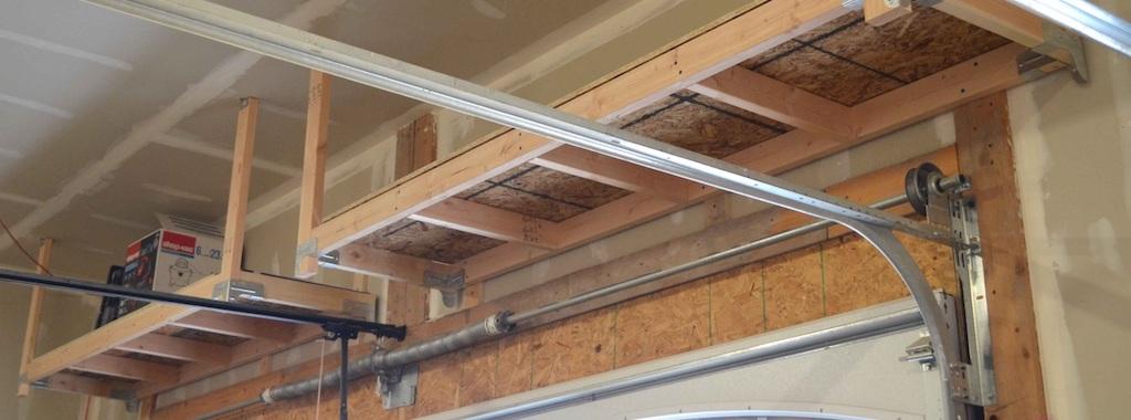 to build suspended garage shelves