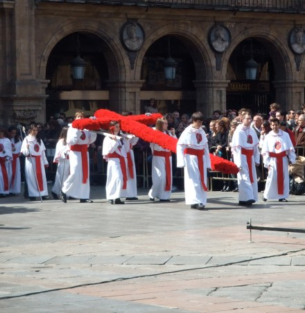 Red cross carried during Semana Santa