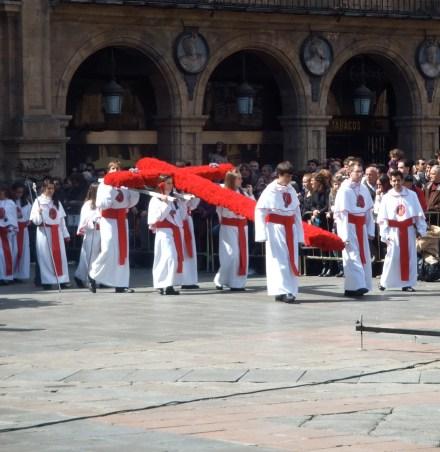 Red cross carried during Semana Santa