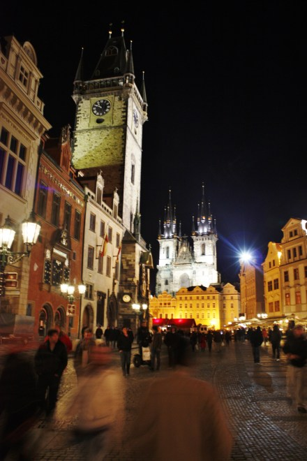 Prague Central Square at night