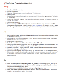 ISA Online Orientation Checklist
