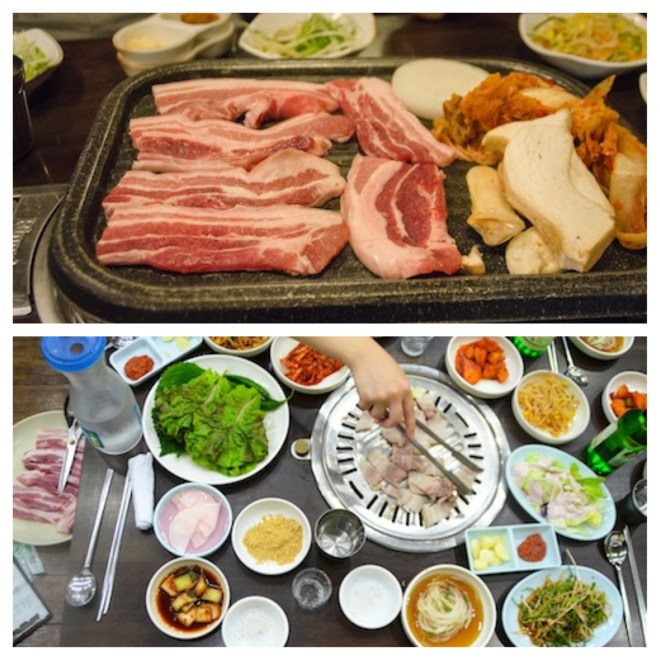 "Korean dish called ""Samgyeopsal"""