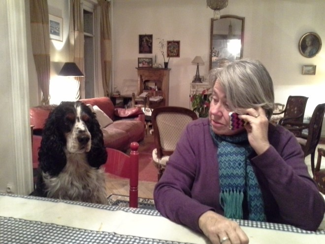 Edgar, our host dog, likes sitting at the table. Our host mom spoils him rotten!