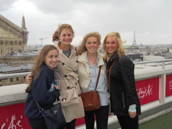 My roommates and me on the first day in Paris from the top of Galeries Lafayette.