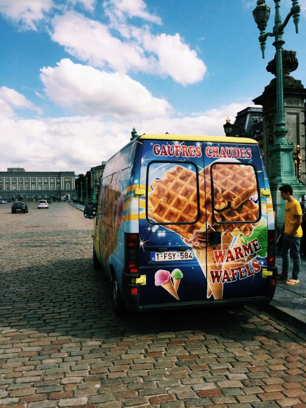 The waffle truck outside of the Royal Palace. You can dine like royalty!