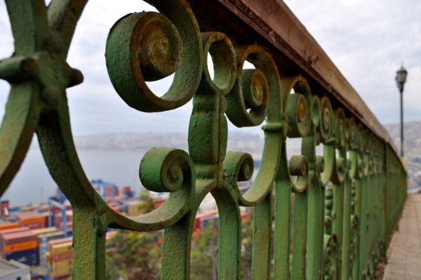 Here in Chile, gates have character too! Intricate gates along the lookout while on an excursion in Valparaíso, Chile.