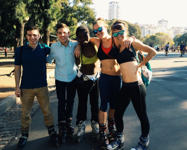An afternoon rollerblading in the park