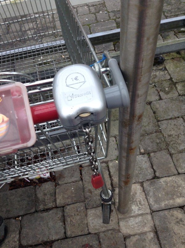 Figuring out how to use the grocery carts- also known as trolleys!