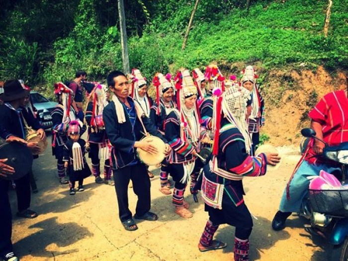 Akha peoples in their traditional clothing celebrating Easter.
