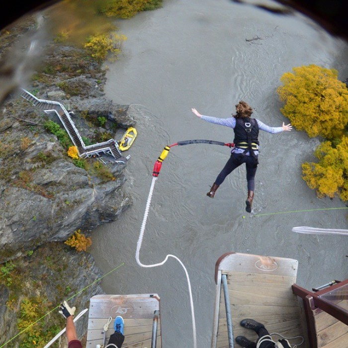 Kawarau Bridge – myself, terrified, in mid-bungy jump
