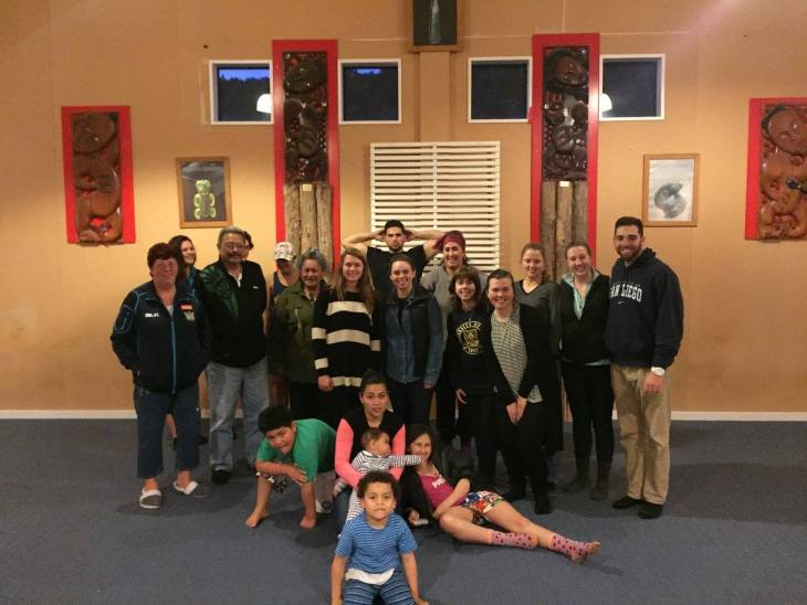Dunedin ISA group with the whānau at the Araiteuru Marae for our overnight marae excursion
