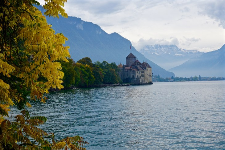 After touring the castle we walked along Lake Geneva viewing the mountains and fall leaves.