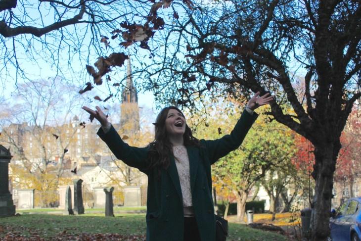 Throwing leaves, Edinburgh, Scotland, UK, Conwell-Photo 4