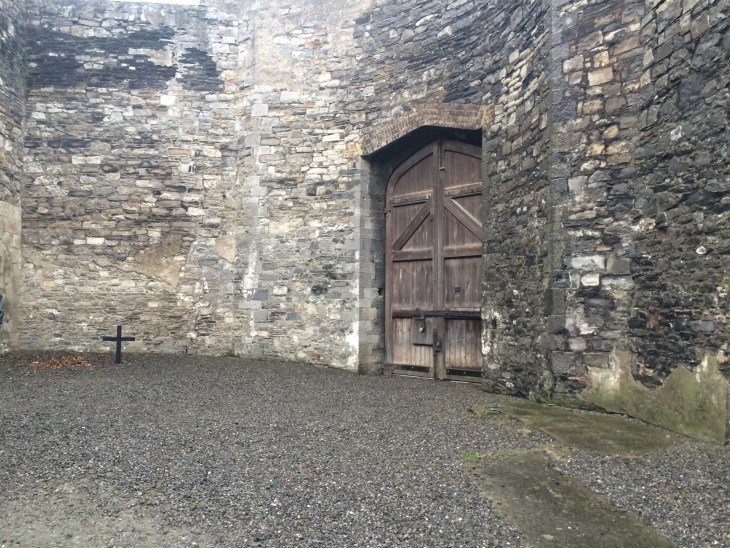 This was the spot where James Connolly was executed. Unable to stand due to a critical wound to his leg, Connolly was brought from the hospital in an ambulance which entered the gaol through the wooden doors on the right.