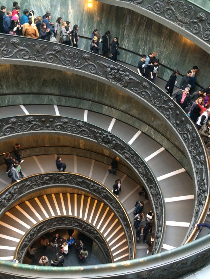 These are the stairs that lead you toward the exit of the Vatican Museum. Even the stairs are just as gorgeous as the art in the museum!