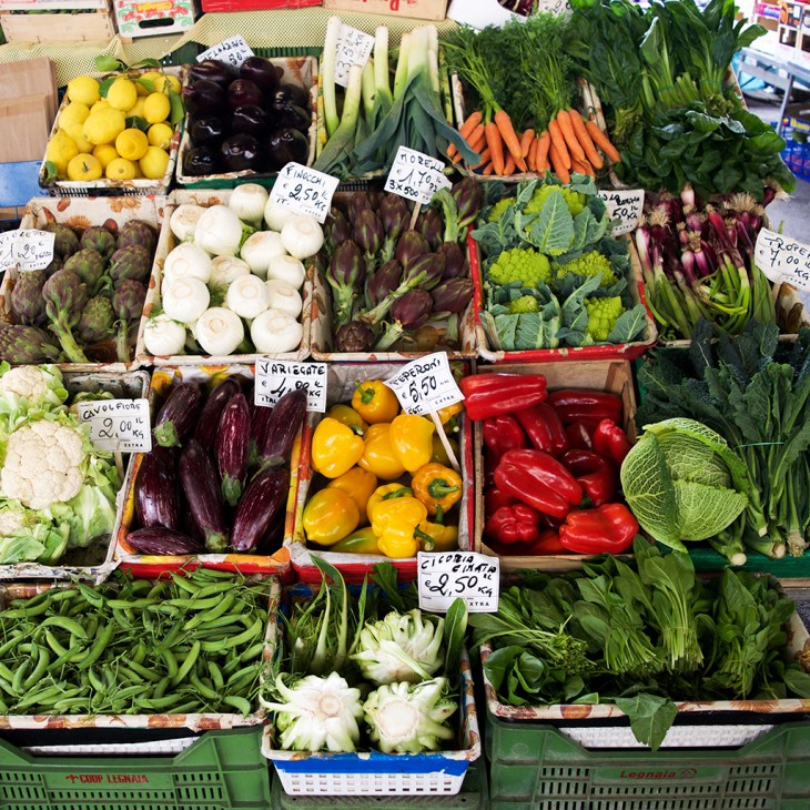 Fresh vegetables at a stand in Mercato Sant'Ambrogio