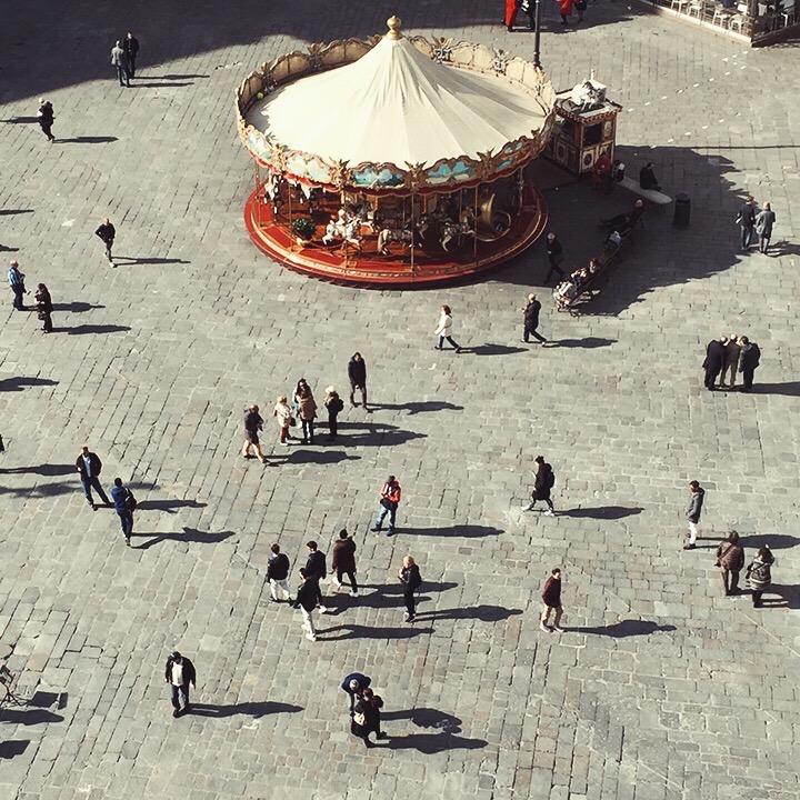 The passersby of Piazza Della Repubblica, taken from the top of La Rinascente