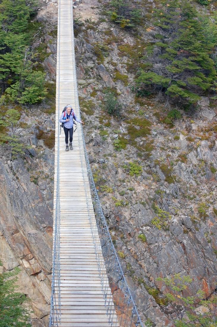 A friend crossing the Olguin bridge