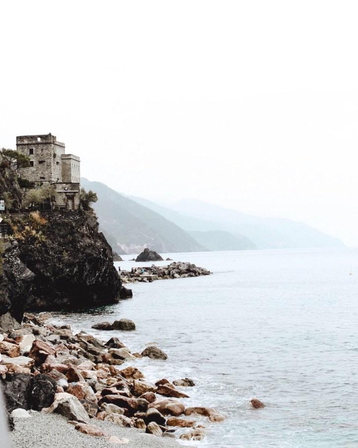 rocky beach in cinque terre italy