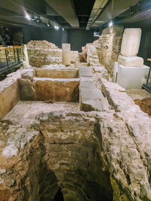 roman ruins in the barcelona history museum