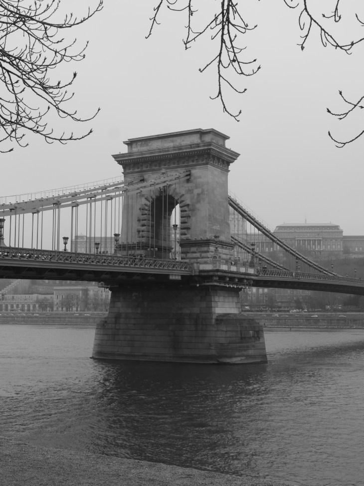 Black and white photo of a bridge