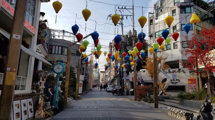 Korean street featuring paper lanterns of many colors