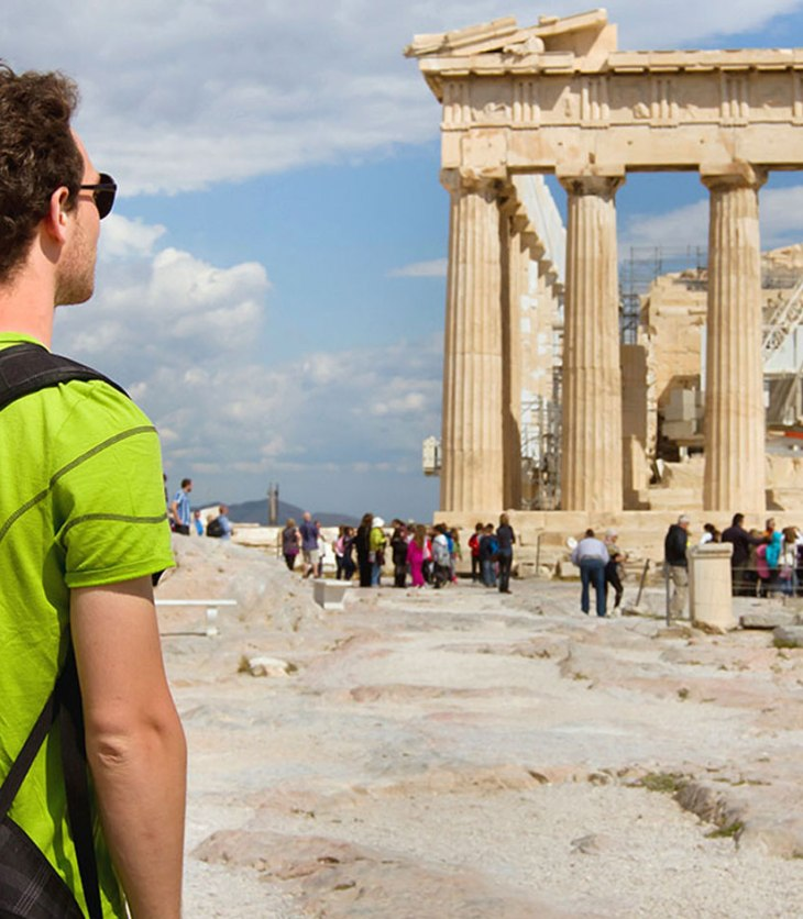 ISA student with backpack in Athens, Greece.