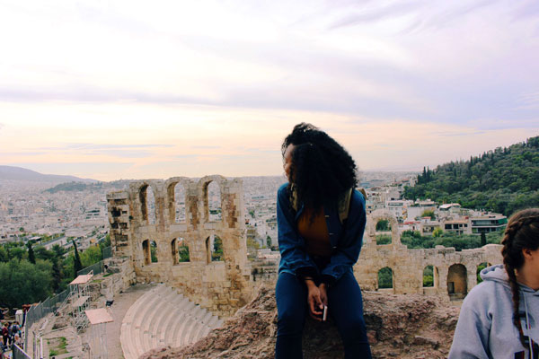 ISA student at the Acropolis in Athens, Greece.