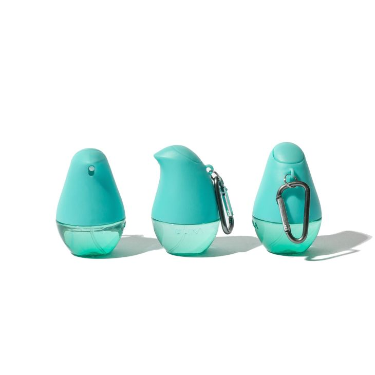 Three blue/green bird shaped clip on hand sanitizer dispensers