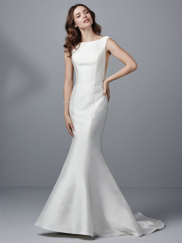 Sottero and Midgley Cohen simple satin fitted wedding dress