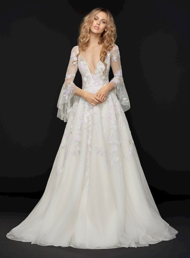 Hayley Paige Rogers wedding dress with floral appliques