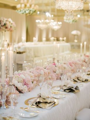 beautiful gold and blush wedding decor for a winter wedding