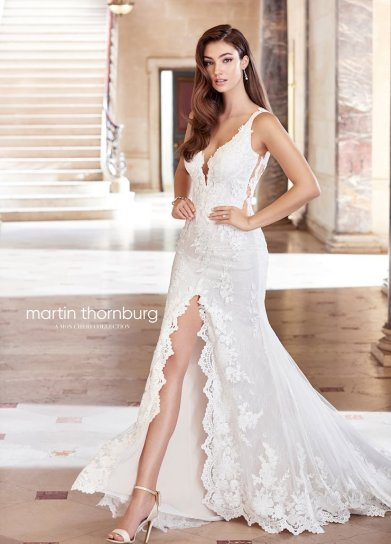 lace wedding dress with front slit for summer martin thornburg 119262 studio i do virginia beach