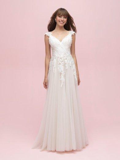 spring wedding dress with floral details allure romance 3211 studio i do virginia beach