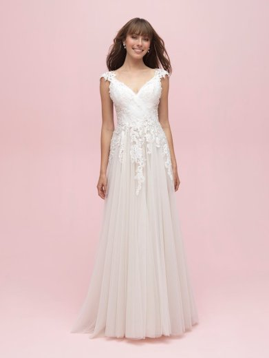 spring wedding dress with floral details allure romance 3211 studio i do virginia beach