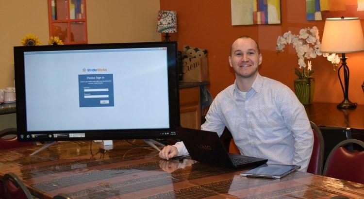 Matthew setting up StudioWorks training at Dance Center Evanston.