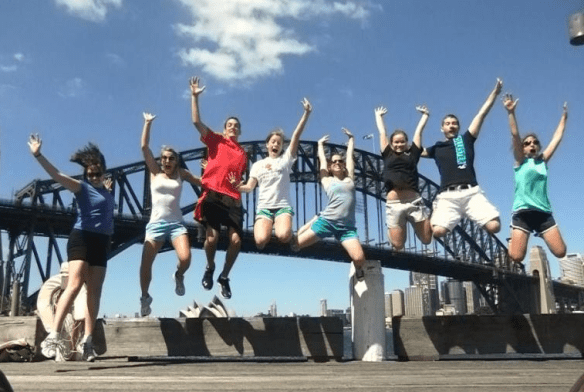 Truman students jumping high in the gold coast australia