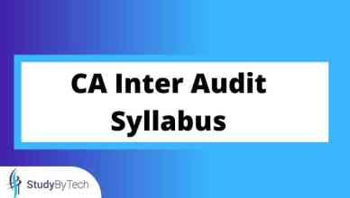 CA Inter Audit Syllabus