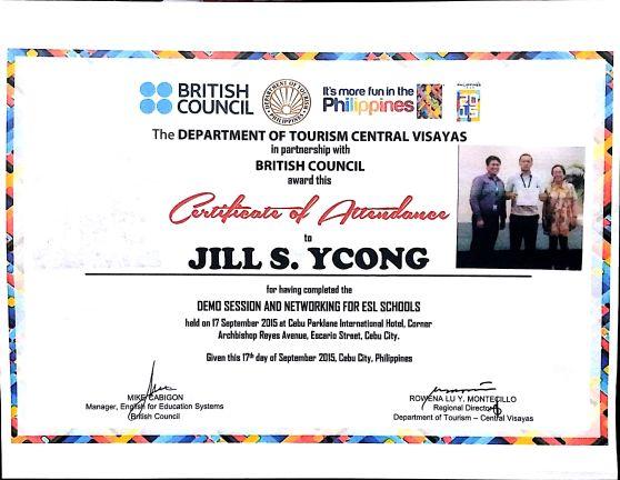 Certificate of Attendance - Jill Ycong
