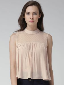 peach coloured mesh yoke top