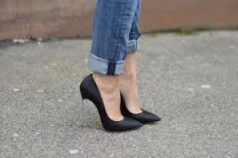jeans with pencil heel