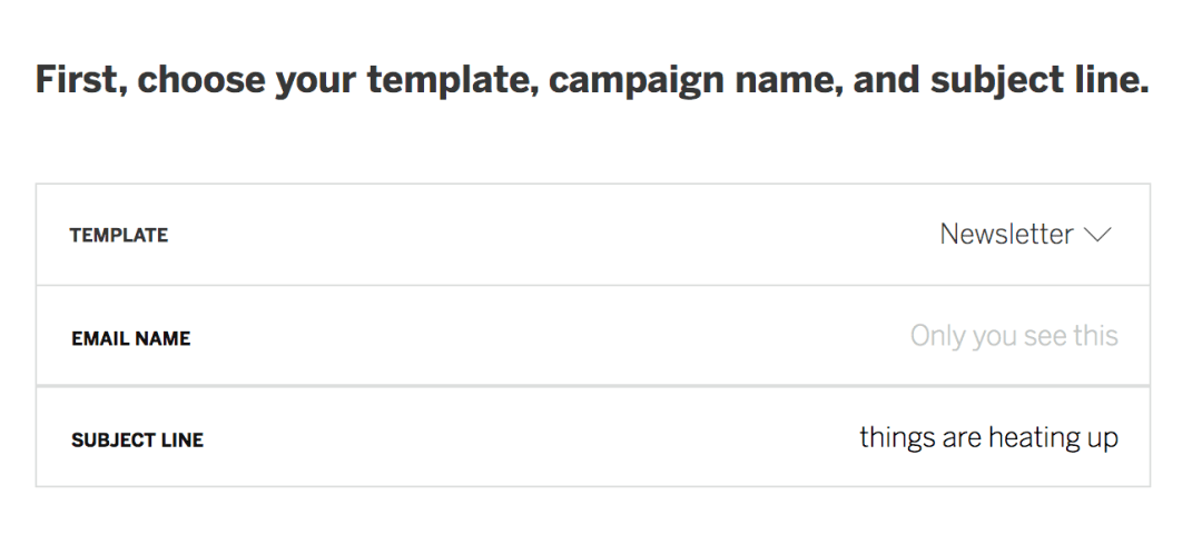 choose a template, campaign name, and subject line.