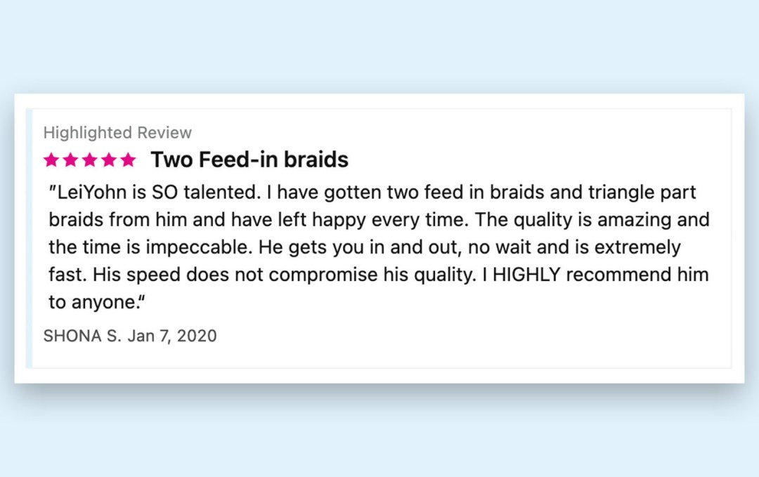 StyleSeat Pro LeiYohn The Hairchanic Client Review for Braids