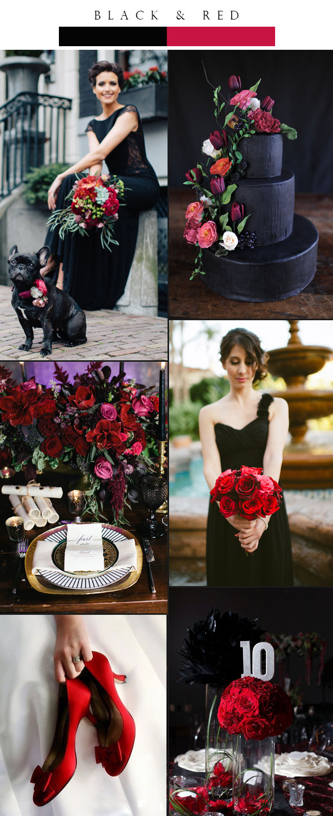 Top 3 Glamorous Black Winter Wedding Color Palette Ideas